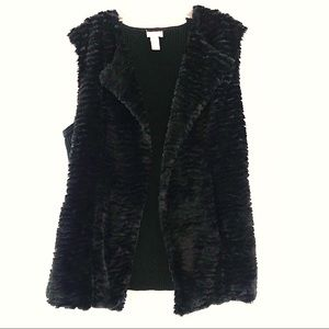 Chico's Black Fur Vest Sz L